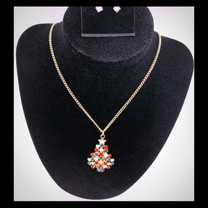 Christmas Tree Necklace and Crystal Stone Earrings